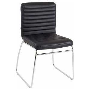 Contemporary Stacking Chair Upholstered, Black Faux Leather With Metal Legs