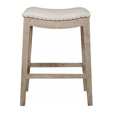Harper Counter Stool In Bisque French Linen And Stone Wash Oak