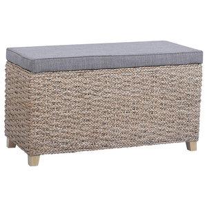 Contemporary Storage Bench, Wicker and Fabric, Grey, 70x30x40 Cm