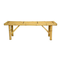 Oriental Furniture   Japanese Bamboo Folding Bench, Light   Accent And Storage  Benches