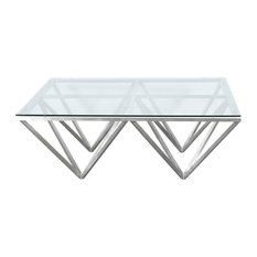 Cascade Contemporary Rectangular Coffee Table, Brushed Stainless Steel