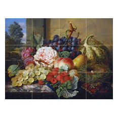 Tile Mural, Still Life With Grapes Raspberries A Peach Pear Ceramic Glossy