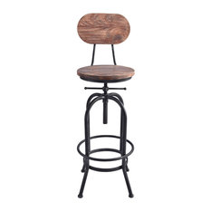 Adele Adjustable Barstool Silver Brushed Gray With Rustic Pine Wood Seat