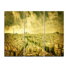 """Paris Panorama With Scenic Sky"" Photo Canvas Art, 3 Panels, 36""x28"""