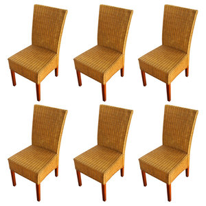 vidaXL Rattan Dining Chairs, Brown, Set of 6