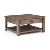 """Monroe Solid Acacia Wood 38"""" Rustic Square Coffee Table, Natural Aged Brown"""