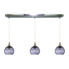 Lucent 3-Light Linear Pendant Form No. 302a, Gray Glass Shades