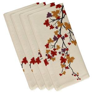 Maple Hues Flower Print Napkin, Brown, Set of 4