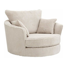 Contemporary Armchair Upholstered, Cream Chenille Fabric, Great for Comfort