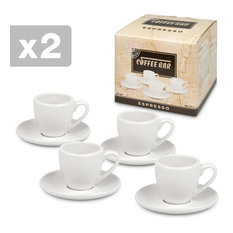 #1 Two Giftboxed Sets of 4 Coffee Bar Espresso Cups and Saucers