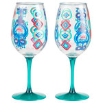 """Enesco - """"Flying Carpet"""" Set of 2 Acrylic Wine Glass by Lolita - This acrylic wine glass captures the spirit of the oriental lore that is the flying carpet. Inspired by the colors of the legendary woven wonders, you don't need to be the Queen of Sheba to enjoy the magic of this byzantine glass."""