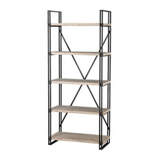 Griffin Quay - 75 Inch Bookcase / Shelf  Black/Bleached Driftwood Finish