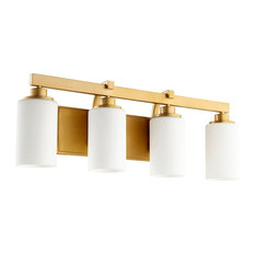 Quorum Lancaster 4-Light Vanity, Aged Brass
