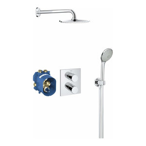Shower Set in Solid Brass with Chrome Plated Finish, Head Shower with 1 Function