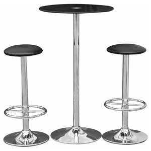 Modern 3-Piece Bar Set with Tempered Glass Top Table and Faux Leather Stools