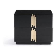 Modrest Token Modern Black and Gold Nightstand