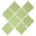 Giorbello - Glass Arabesque Tile, Light Olive, Case of 11 - Water Resistant Glass - Ideal for Kitchens and Baths