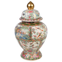 Beautiful Chinese Rose Medallion Temple Jar 14""