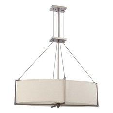 Hazel Bronze Oval 6-Light Chandelier With Khaki Shade