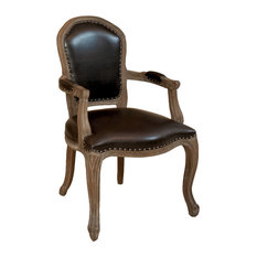 GDFStudio - Queen Ann Weathered Oak Brown Leather Armchair - Dining Chairs
