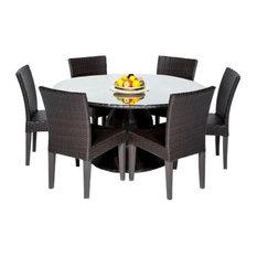 """TK Classic Napa 60"""" 7-Piece Wicker Patio Dining Set, Espresso"""