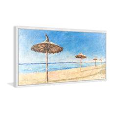 """Beach in Spain"" Framed Painting Print, 60""x30"""