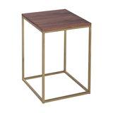 Kensal Walnut Side Table, Brass Base