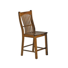 A-America Laurelhurst Slatback Counter Chair Wood Seat Rustic Oak Set Of 2
