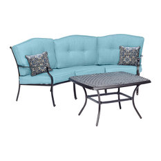 Traditions 2-Piece Patio Set With Cast-Top Coffee Table and Crescent Sofa, Blue