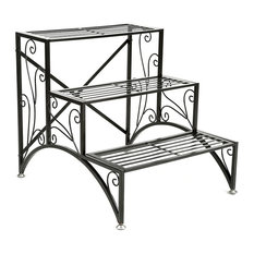 Tier Planter Rack, Step Style Folding Plant Pot Shelf Stand, Black