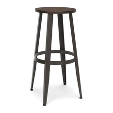 OFM Edge Series 30-inch Wood Stool Backless Stool With Steel Foot Ring Walnut