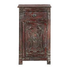 Chartres Rustic Solid Wood Single Door 1 Drawer Accent Nightstand