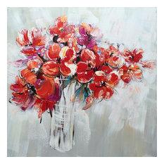 Hand Painted Flowers in Vase Wall Decor Artwork II