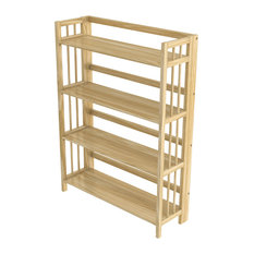 "Stony Edge Folding Bookcase, 4 Shelves, 32"", Natural Wood Color"