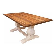 "Avon Dining Table, Reclaimed Wooden Top, White Trestle Base, 60"""