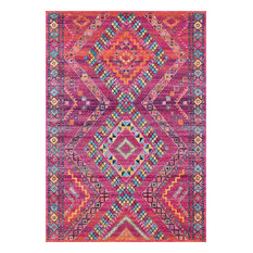 Tribal Mosaic Diamonds Area Rug, Fuchsia, 5'x7'5""