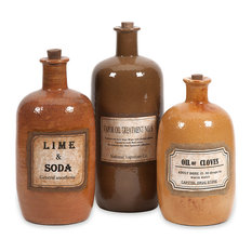 imax worldwide home easton decorative medicine bottles 3 piece set decorative jars - Decorative Jars