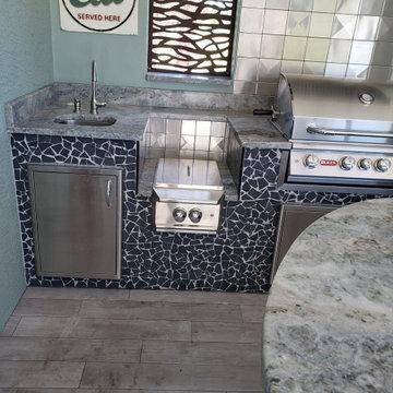 "Outdoor Kitchen with 6""x6"" Metal Tiles"