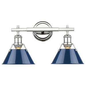 Orwell 2-Light Bath Vanity, Chrome With Navy Blue Shade