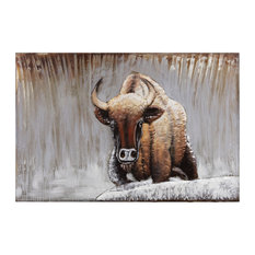 """Buffalo"" Mixed Media Iron Hand Painted Dimensional Wall Art"
