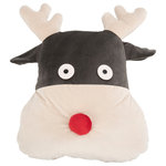 """Safavieh - Reno Reindeer Pillow, Multi, 12""""x12"""" - Looking to catch a ride on Santa's sleigh? Bring the magic and fun of Dasher, Prancer and the rest of his crew into any room in the house with the Safavieh Reno Reindeer Pillow. An instant dose of fun and fantasy, this plush and playful reindeer ' complete with cute red nose'will be a treasured holiday companion for the whole family year after year."""