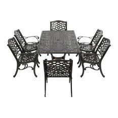 GDF Studio 7-Piece Odena Outdoor Cast Aluminum Rectangle Bronze Dining Set