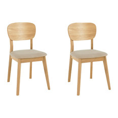Oslo Oak Furniture Dining Chairs, Set of 2