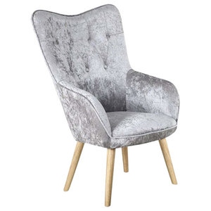 Modern Soft Fabric Accent Chair, Buttoned Back and Wooden Legs, Silver Crushed