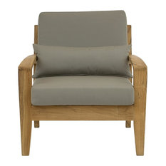 Jabron Outdoor Teak Lounge Chair, Taupe and Natural