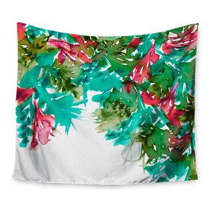 Red Blue Maroon Wall Tapestry KESS InHouse Ebi Emporium Floral Fiesta 68 x 80