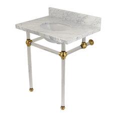 Fauceture KVPB30MA7 Carrara Marble Bathroom Console Vanity with Acrylic Pedestal