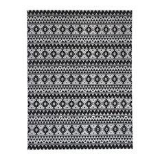 Sunny Kilim-Style Outdoor Rug, Black, 120x170 cm