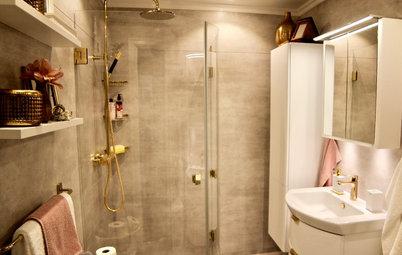 Veckans badrum: Puderrosa, guld och varmgrå väggar i Bollnäs