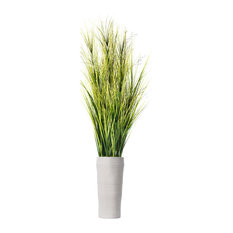 """Artificial Faux Plastic 81"""" Tall Onion Grass With Twigs and Fiberstone Planter"""